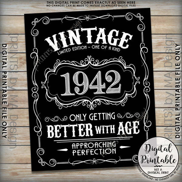 "1942 Birthday Sign, Better with Age Vintage Birthday, Aged to Perfection, 8x10/16x20"" Black & White Digital Printable File <Instant Download> - PRINTSbyMAdesign"