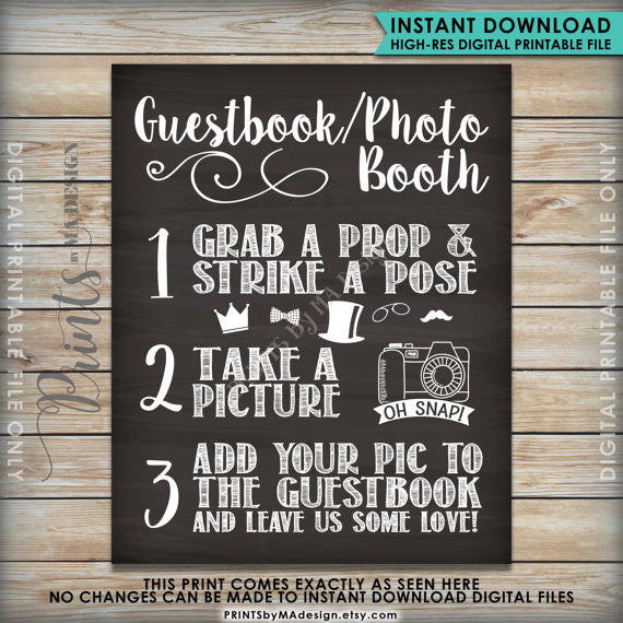 "Guestbook Photobooth Sign, Chalkboard Style Guestbook Photo Booth Sign Our Guest Book, 8x10/16x20"" Printable Sign - PRINTSbyMAdesign"
