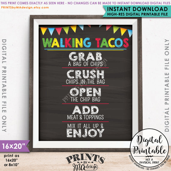 "Walking Tacos Sign, Taco Bar, Fiesta Taco Sign, Cinco de Mayo, Sweet Sixteen Birthday Party, Graduation Party, 8x10/16x20"" Chalkboard Style Printable Sign <Instant Download> - PRINTSbyMAdesign"