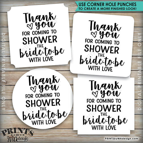 "Bridal Shower Thank You Tags, Thank You for Coming to Shower the Bride-to-Be Bridal Shower Tags, 3x3"" on 8.5x11"" Printable Favor Tags <Instant Download> - PRINTSbyMAdesign"