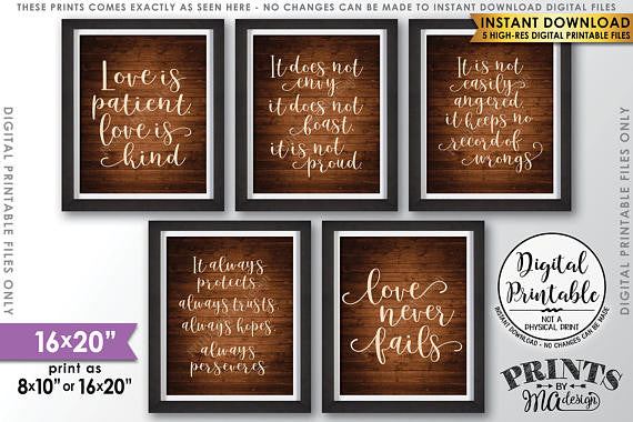 photo regarding Printable Wedding Signs referred to as Enjoy is Affected individual Appreciate is Sort, Marriage Aisle, 1 Corinthians 13, Established of 5 Marriage ceremony Signs and symptoms, 16x20\u201d Rustic Picket Layout Printable Symptoms