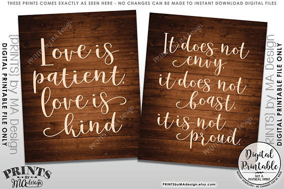 "Love is Patient Love is Kind, Wedding Aisle, 1 Corinthians 13, Set of 5 Wedding Signs, 16x20"" Rustic Wood Style Printable Signs<Instant Download> - PRINTSbyMAdesign"