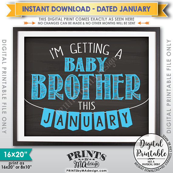 "I'm Getting a Baby Brother in JANUARY, It's a Boy Gender Reveal Pregnancy Announcement, Chalkboard Style PRINTABLE 8x10/16x20"" <Instant Download> - PRINTSbyMAdesign"