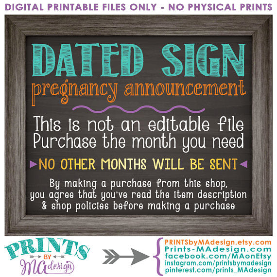 "We're Getting a Baby Brother in MARCH, It's a Boy Gender Reveal Pregnancy Announcement, Chalkboard Style PRINTABLE 8x10/16x20"" <Instant Download> - PRINTSbyMAdesign"