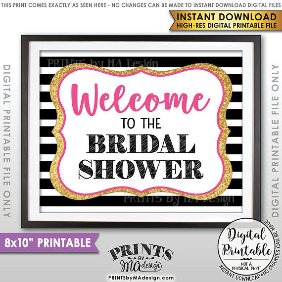"Welcome to the Bridal Shower Sign, Bridal Shower Welcome Sign, Black Pink & Gold Glitter 8x10"" Printable Instant Download File (Kate Spade inspired) - PRINTSbyMAdesign"