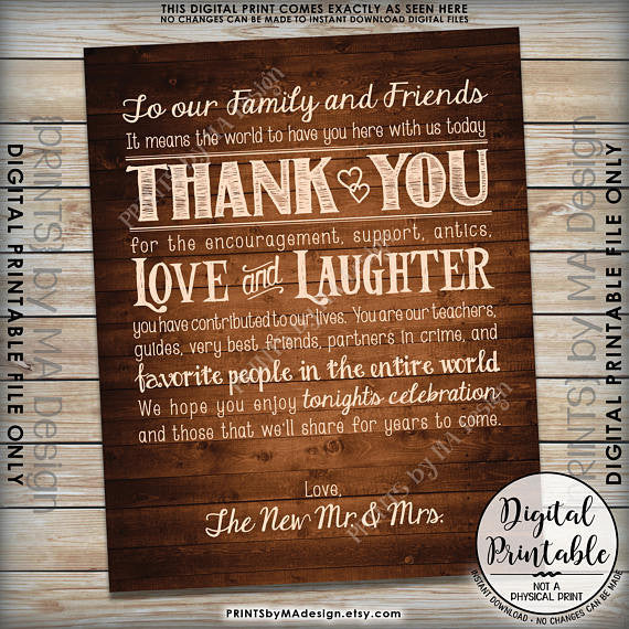"Wedding Thank You Sign, Thanks Chalkboard Wedding Poster, Thank family & friends, 8x10/16x20"" Brown Rustic Wood Style Printable <Instant Download> - PRINTSbyMAdesign"
