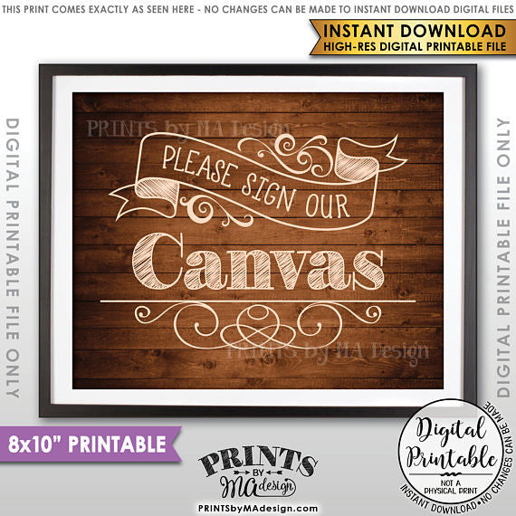 "Please Sign Our Canvas Wedding Sign the Canvas Sign, Wedding Canvas Guestbook Sign, 8x10"" Brown Rustic Wood Style Printable <Instant Download> - PRINTSbyMAdesign"