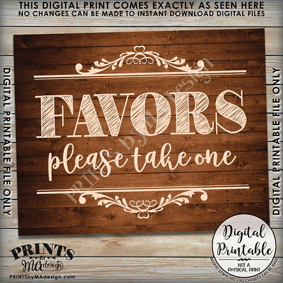"Favors Sign, Take a Favor Sign, Wedding Favors, Shower Favors Party Favors, Take a Favor, 8x10"" Brown Rustic Wood Style Printable <Instant Download> - PRINTSbyMAdesign"