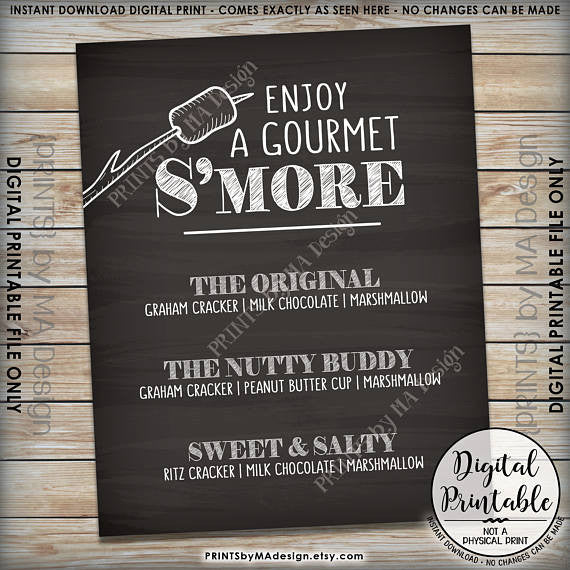 "S'more Menu, Enjoy a Gourmet Smore Sign, S'more Sign, Smores Menu, Gourmet Smore Bar, 8x10"" Chalkboard Style Printable Sign <Instant Download> - PRINTSbyMAdesign"