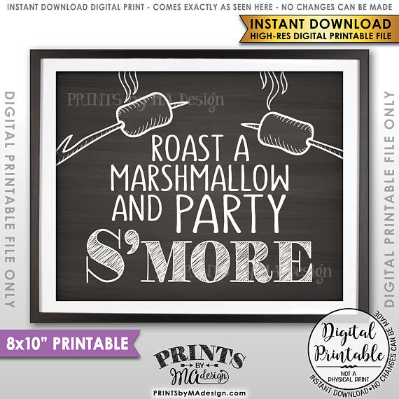 "S'more Sign, Party Smore, Roast S'mores Wedding, Birthday, Graduation, Campfire, 8x10"" Chalkboard Style Printable Sign<Instant Download> - PRINTSbyMAdesign"