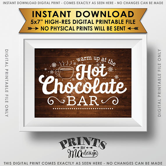 "Hot Chocolate Sign, Warm Up at the Hot Chocolate Bar Sign, Rustic Wood Style PRINTABLE 5x7"" sign <Instant Download> - PRINTSbyMAdesign"