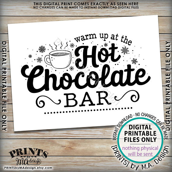 "Hot Chocolate Sign, Warm Up at the Hot Chocolate Bar Sign, PRINTABLE 5x7"" sign <Instant Download> - PRINTSbyMAdesign"