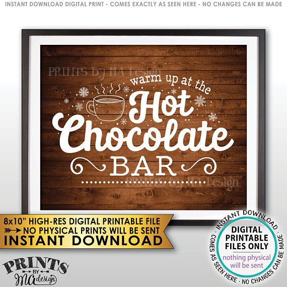 "Hot Chocolate Sign, Warm Up at the Hot Chocolate Bar Sign, Rustic Wood Style PRINTABLE 8x10"" sign <Instant Download> - PRINTSbyMAdesign"