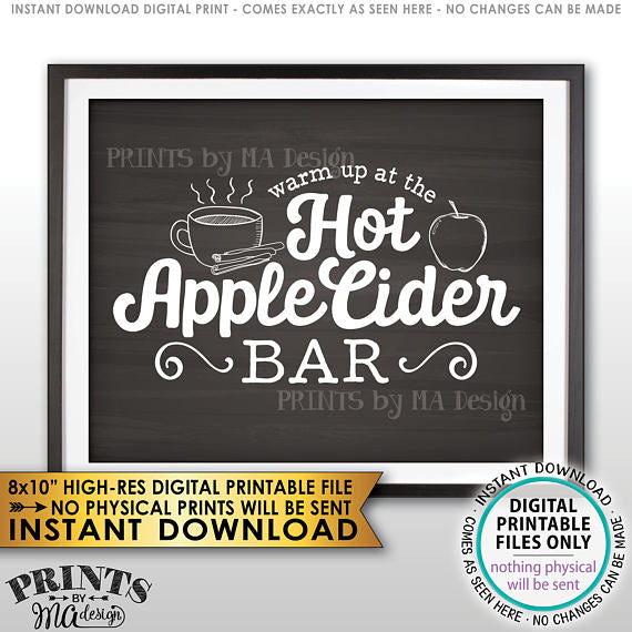 "Apple Cider Sign, Warm Up at the Hot Apple Cider Bar, Autumn Decor, Chalkboard Style PRINTABLE 8x10"" <Instant Download> - PRINTSbyMAdesign"