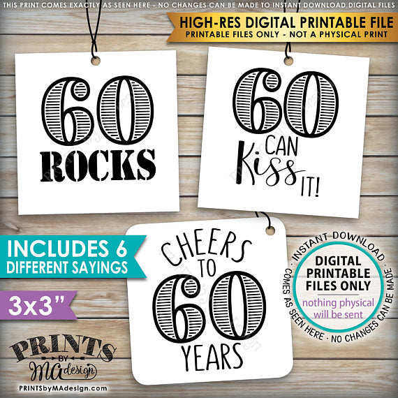 "60th Birthday Party Candy Signs, 60th Candy Bar, 60 Sucks, 60 Blows, 60 Rocks, 60 can Kiss It, Cheers to 60 years, 60 is Hot, Square 3x3"" tags on 8.5x11"" PRINTABLE <Instant Download> - PRINTSbyMAdesign"