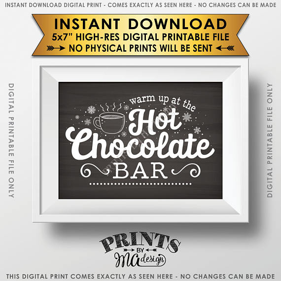 "Hot Chocolate Sign, Warm Up at the Hot Chocolate Bar Sign, Chalkboard Style PRINTABLE 5x7"" sign <Instant Download> - PRINTSbyMAdesign"