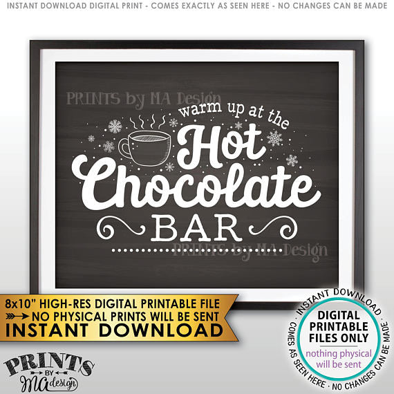 "Hot Chocolate Sign, Warm Up at the Hot Chocolate Bar Sign, Chalkboard Style PRINTABLE 8x10"" sign <Instant Download> - PRINTSbyMAdesign"