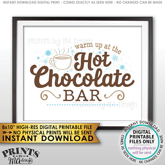 "Hot Chocolate Sign, Warm Up at the Hot Chocolate Bar Sign, PRINTABLE 8x10"" sign <Instant Download> - PRINTSbyMAdesign"