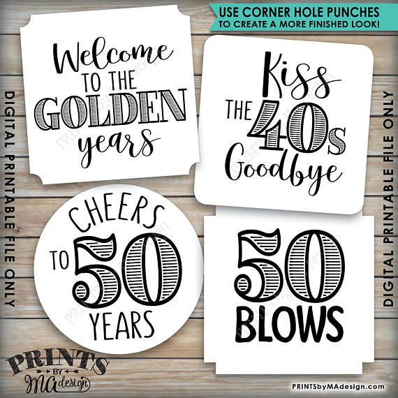 "50th Birthday Party Candy Signs, 50th Candy Bar, 50 Sucks, 50 Blows, 50 Rocks, Kiss 40s Goodbye, Cheers to 50 years, Welcome to the Golden years, Square 3x3"" tags on 8.5x11"" PRINTABLE <Instant Download> - PRINTSbyMAdesign"