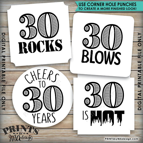 "30th Birthday Party Candy Signs, 30th Candy Bar, 30 Sucks, 30 Blows, 30 Rocks, 30 is Hot, Kiss 20s Goodbye, Cheers to 30 years, Square 3x3"" tags on 8.5x11"" PRINTABLE <Instant Download> - PRINTSbyMAdesign"