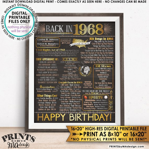 "1968 Flashback Poster, Birthday Flashback to 1968 USA History Back in 1968, Birthday, Gold, Instant Download PRINTABLE 8x10/16x20"" Chalkboard Style Sign - PRINTSbyMAdesign"