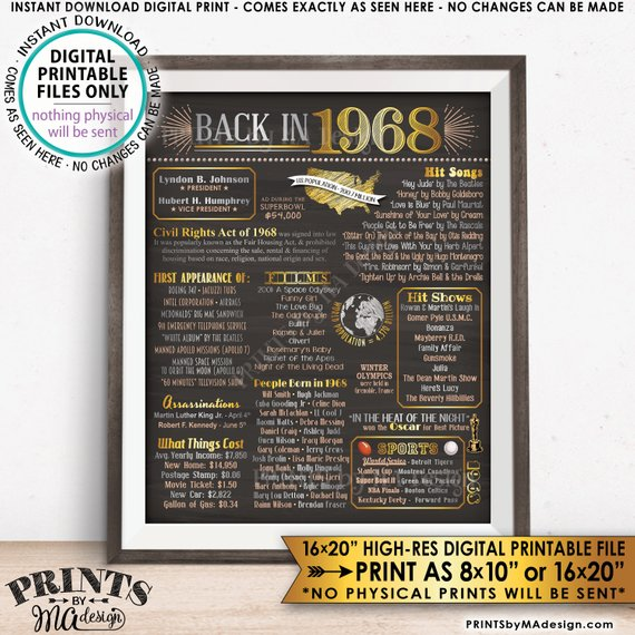 "1968 Flashback Poster, Flashback to 1968 USA History Back in 1968 Birthday Anniversary Reunion, Instant Download PRINTABLE 8x10/16x20"" Chalkboard Style Sign - PRINTSbyMAdesign"
