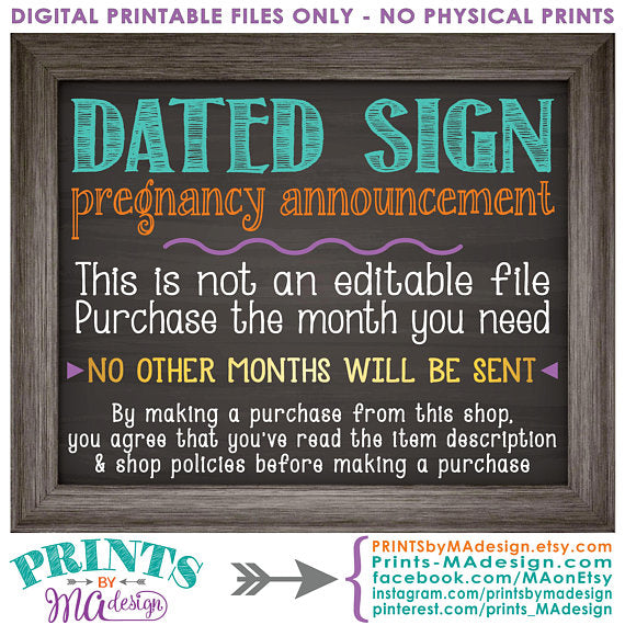 Mother's Day Pregnancy Announcement Roses are Red Violets Blue Our Baby is Due in OCTOBER Dated PRINTABLE Chalkboard Style Reveal Sign <Instant Download> - PRINTSbyMAdesign
