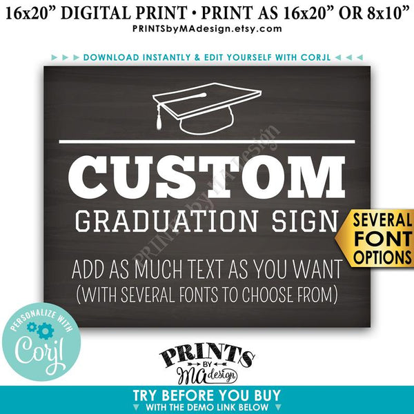 "Custom Graduation Party Decoration, Choose Text, Editable PRINTABLE 8x10/16x20"" Landscape Chalkboard Style Sign (Edit Yourself with Corjl) - PRINTSbyMAdesign"