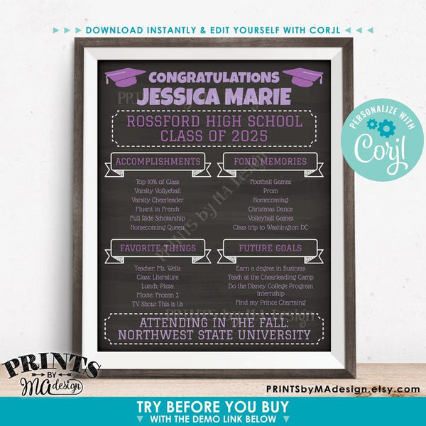 "Graduation Party Sign, High School or College Graduation Party Decoration, Milestones, PRINTABLE 16x20"" Chalkboard Style Sign (Edit Yourself with Corjl) - PRINTSbyMAdesign"