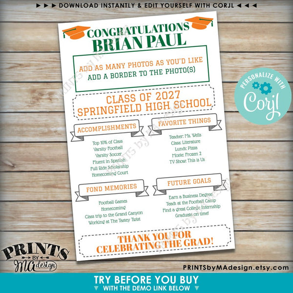 "Graduation Party Sign, High School or College Graduation Party Decoration, Milestones, PRINTABLE 24x36"" Sign (Edit Yourself with Corjl) - PRINTSbyMAdesign"