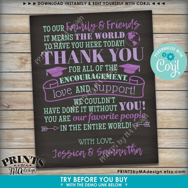 Graduation Party Thank You Sign, Thanks from the Graduates, Editable PRINTABLE Chalkboard Style Grads Decor (Edit Yourself with Corjl) - PRINTSbyMAdesign