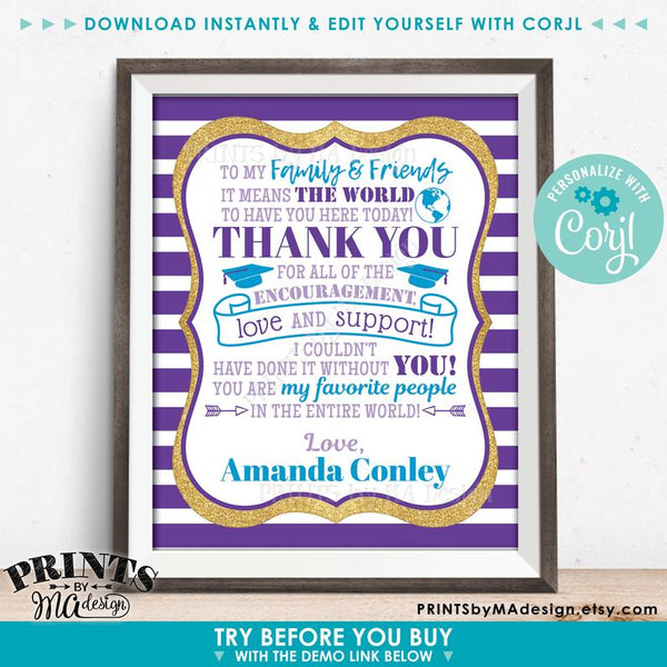 "Graduation Party Thank You Sign, Thanks from the Graduate, Gold Glitter PRINTABLE 8x10/16x20"" Grad Party Decoration  (Edit Yourself with Corjl) - PRINTSbyMAdesign"