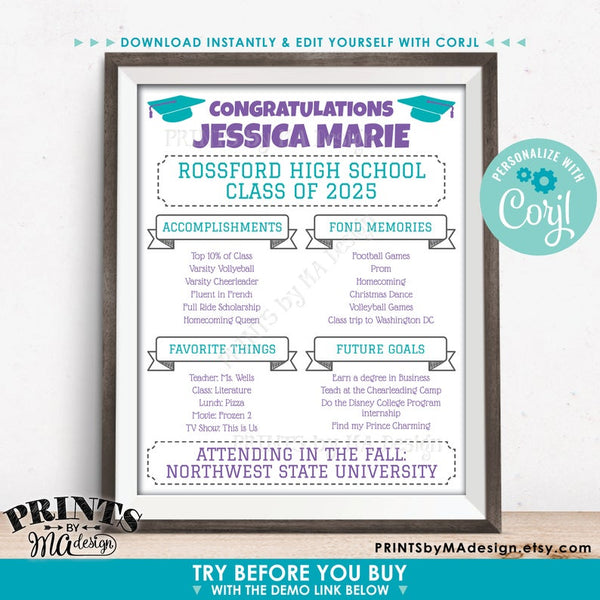 "Graduation Party Sign, High School or College Graduation Party Decoration, Milestones, PRINTABLE 16x20"" Sign (Edit Yourself with Corjl) - PRINTSbyMAdesign"