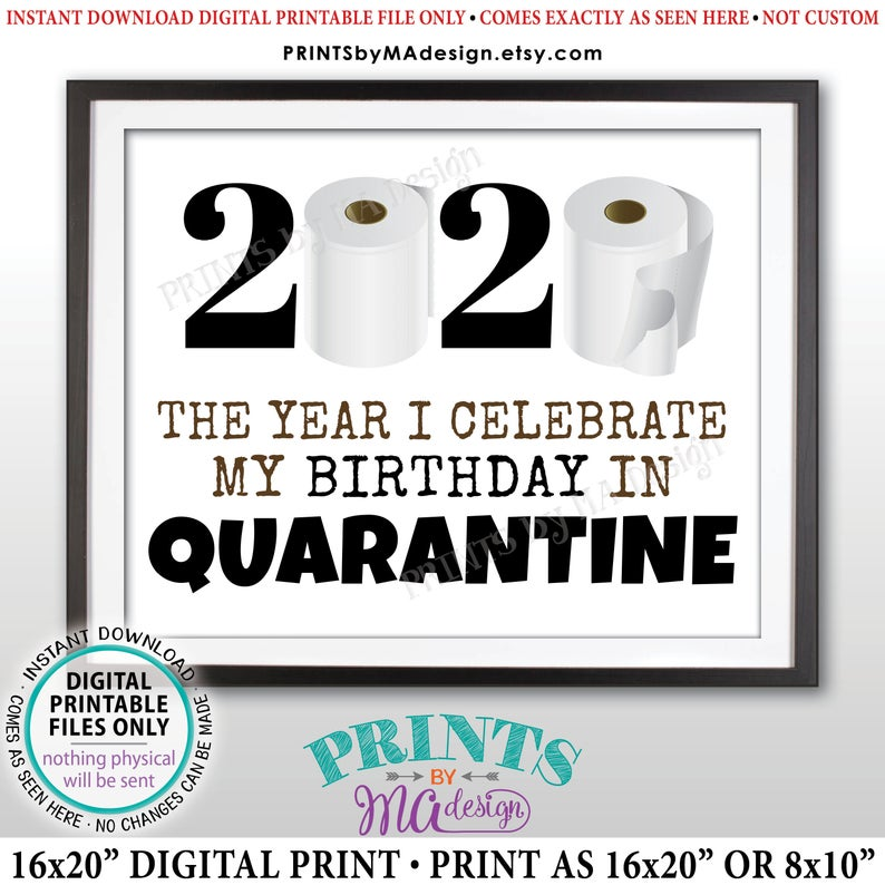 "Quarantine Birthday Sign, The Year I Celebrate My Birthday In Quarantine, Toilet Paper, Funny PRINTABLE 8x10/16x20"" 2020 Bday Sign (Instant Download Digital Printable File) - PRINTSbyMAdesign"