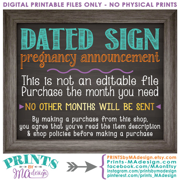 "October Pregnancy Announcement Sign due in OCTOBER, Subtle Due Date Month, Expecting Sign, 8x10/16x20"" Chalkboard Style Sign <Instant Download Digital Printable File> - PRINTSbyMAdesign"