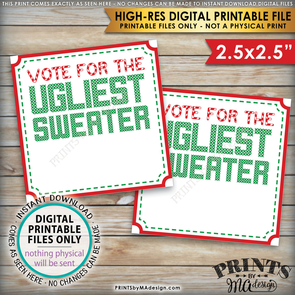 "Ugly Christmas Sweater Party Voting Ballots, Vote for the Ugliest Christmas Sweater, Tacky Sweater, Instant Download PRINTABLE 8.5x11"" sheet of 2.5"" Ballots - PRINTSbyMAdesign"