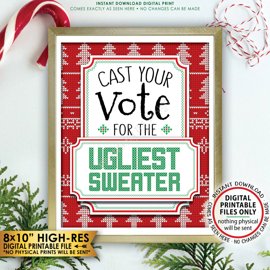 "Ugly Christmas Sweater Voting Sign, Vote for the Ugliest Sweater Party Sign, Tacky Sweater Party, Instant Download PRINTABLE 8x10"" Voting Sign - PRINTSbyMAdesign"