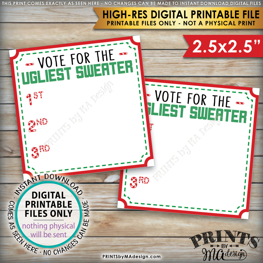 "Ugly Christmas Sweater Party Voting Ballots, Vote for the Ugliest Christmas Sweater, Tacky Sweater, 1st 2nd 3rd Ballots, Instant Download PRINTABLE 8.5x11"" sheet of 2.5"" Ballots - PRINTSbyMAdesign"