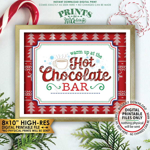 "Ugly Sweater Hot Chocolate Bar Sign, Warm Up at the Hot Chocolate Bar Ugly Christmas Sweater Party, Tacky Sweater Party, PRINTABLE 8x10"" Instant Download Hot Chocolate Sign - PRINTSbyMAdesign"