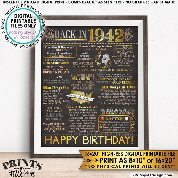 "1942 Birthday Flashback Poster, Back in 1942 Birthday Decorations, '42 B-day Gift, PRINTABLE 8x10/16x20"" Chalkboard Style B-day Sign, Instant Download 8x10/16x20"" Chalkboard Style Printable Poster - PRINTSbyMAdesign"
