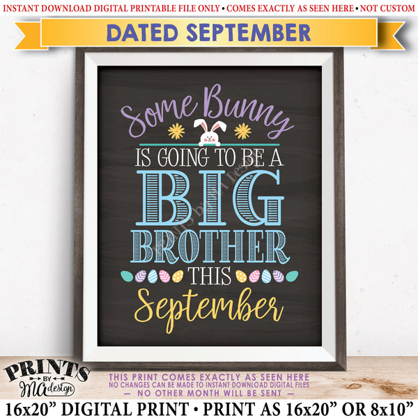 "Easter Pregnancy Announcement Some Bunny is going to be a Big Brother, Baby #2 due in SEPTEMBER Dated PRINTABLE Chalkboard Style New Baby Reveal Sign, Print as 8x10"" or 16x20"", Instant Download Digital Printable File - PRINTSbyMAdesign"