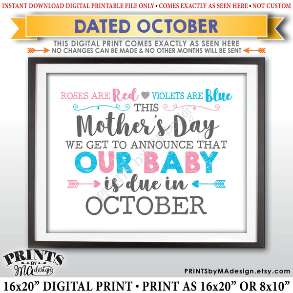 Mother's Day Pregnancy Announcement Sign, Roses are Red Violets Blue Our Baby is Due in OCTOBER Dated PRINTABLE Baby Reveal Sign <Instant Download> - PRINTSbyMAdesign