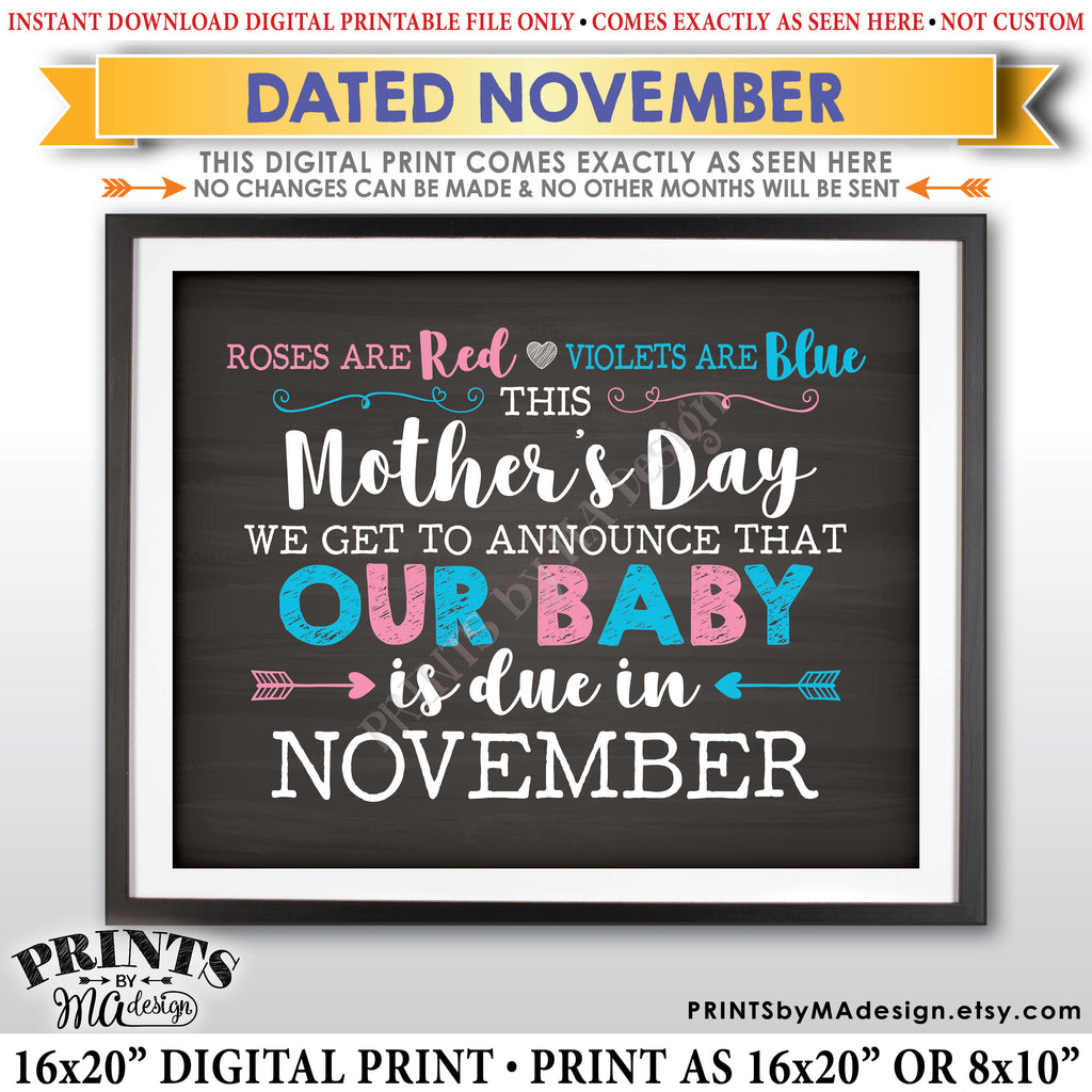 Mother's Day Pregnancy Announcement Roses are Red Violets Blue Our Baby is Due in NOVEMBER Dated PRINTABLE Chalkboard Style Reveal Sign <Instant Download> - PRINTSbyMAdesign