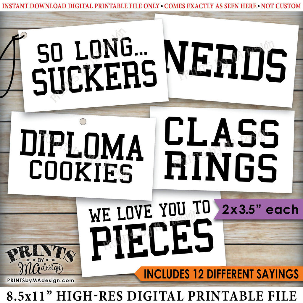"Graduation Party Candy Signs, Candy Bar, Candy Buffet, Smartie Pants, Smart Cookie, Class Ring, Nerds, Worms, 2x3.5"" cards on PRINTABLE 8.5x11"" Sheet <Instant Download> - PRINTSbyMAdesign"