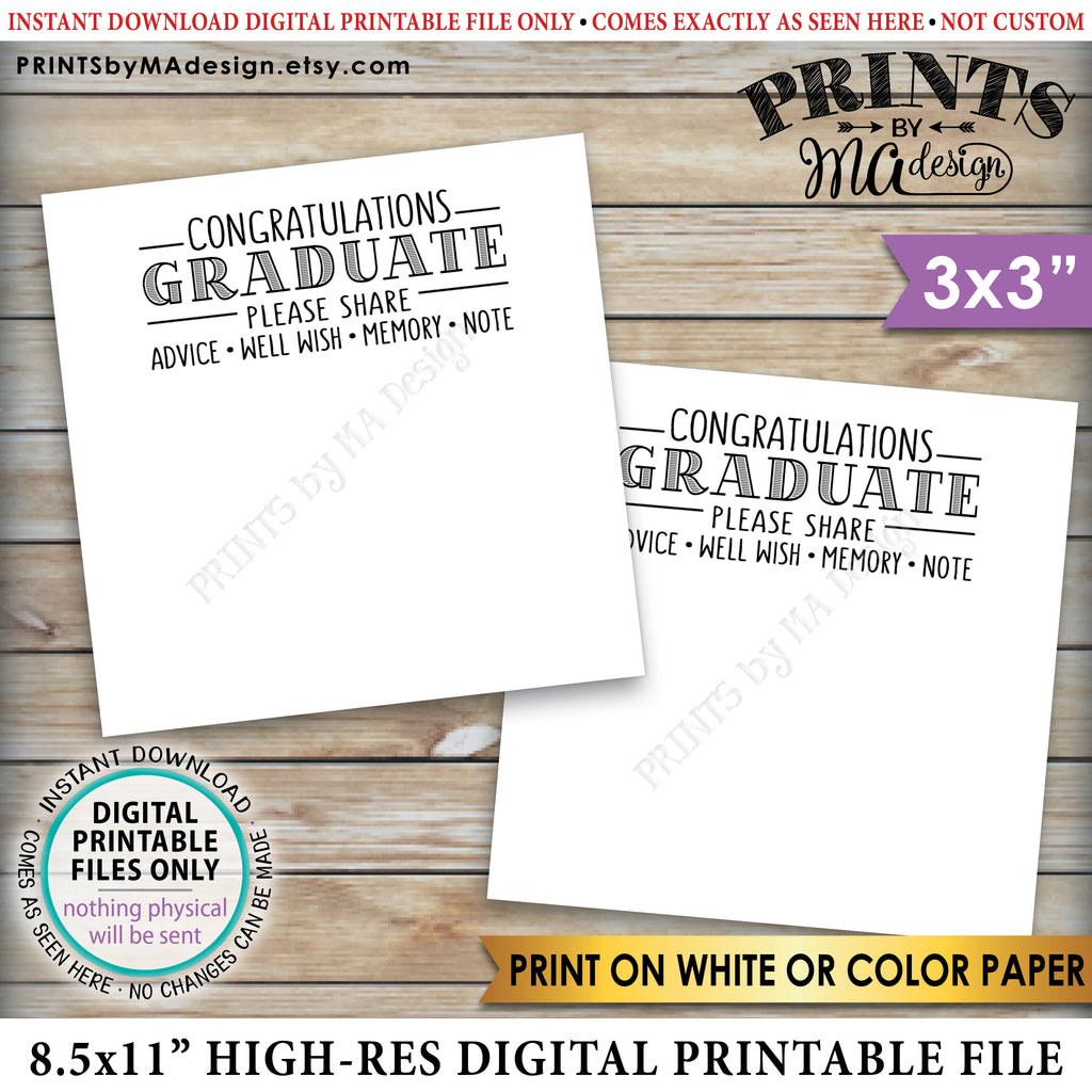 "Graduation Advice Cards, Congratulations Graduate, Memory, Advice, Well Wishes, Graduation Party, 3"" cards on PRINTABLE 8.5x11"" Sheet <Instant Download> - PRINTSbyMAdesign"