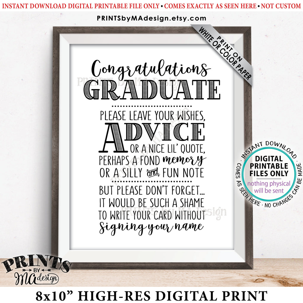 "Graduation Advice Sign, Congratulations Graduate Sign, Grad Advice, Memory, Well Wish, Note, Graduation Party, PRINTABLE 8x10"" Sign<Instant Download> - PRINTSbyMAdesign"