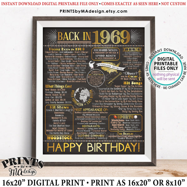 "1969 Birthday Flashback Poster, Back in 1969, Years Ago, Birthday Gift, Decorations, PRINTABLE 8x10/16x20"" Chalkboard Style B-day Sign, Instant Download 8x10/16x20"" Chalkboard Style Printable Poster - PRINTSbyMAdesign"