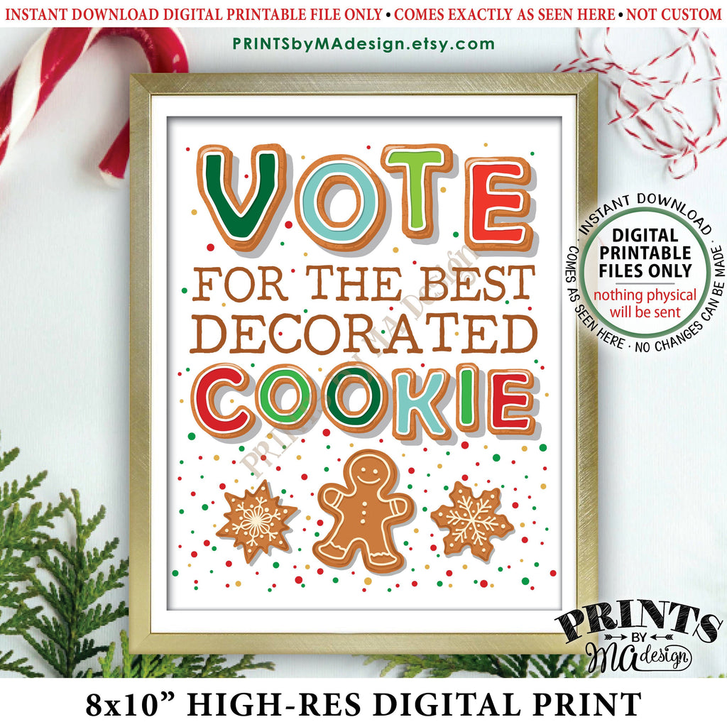 "Cookie Voting Sign, Vote for the Best Decorated Cookie, Gingerbread Christmas Cookies, Holiday Cookie Baking Party, PRINTABLE 8x10"" Instant Download Printable File - PRINTSbyMAdesign"