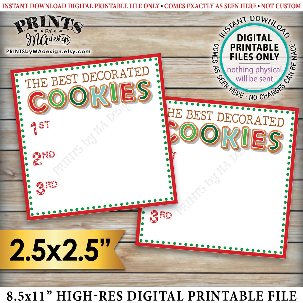 "Vote for the Best Decorated Cookie, Christmas Cookies Baking Party, Gingerbread Cookies, Holiday Cookie Voting Station, PRINTABLE Cookie Voting 2.5"" Ballots Instant Download Printable File - PRINTSbyMAdesign"