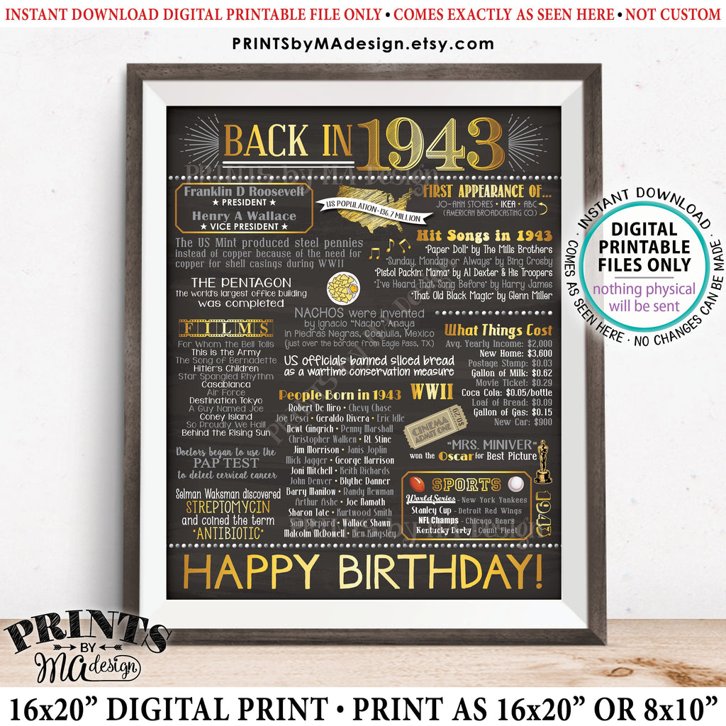 "1943 Birthday Flashback Poster, Back in 1943 Birthday Decorations, '43 B-day Gift, PRINTABLE 8x10/16x20"" Chalkboard Style B-day Sign, Instant Download 8x10/16x20"" Chalkboard Style Printable Poster - PRINTSbyMAdesign"